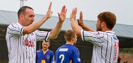 Michael Moffat celebrates his first Dunfermline goal