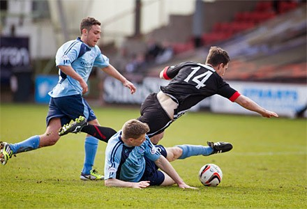 Ross Forbes goes down over Darren Dods