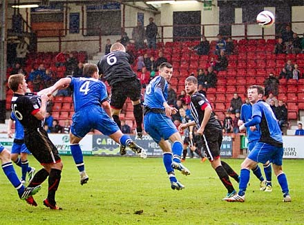 Andy Geggan heads home the second goal